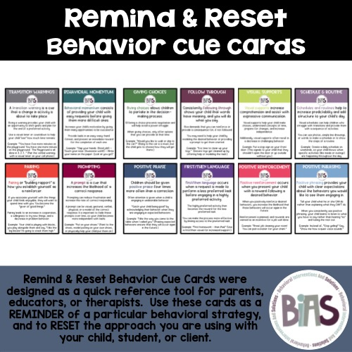 Remind and Reset Behavior Cue Cards