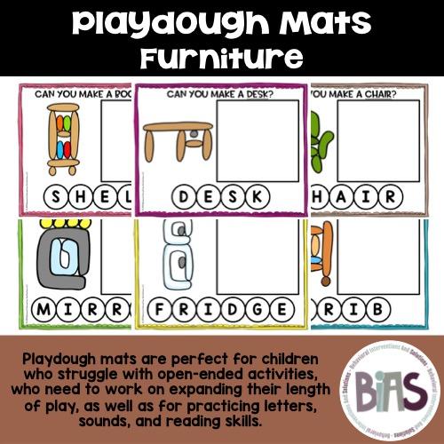 Playdough Mats Furniture Theme