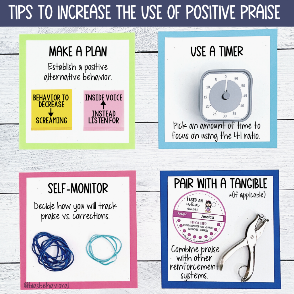 Graphic depicting four tips for increasing positive praise.