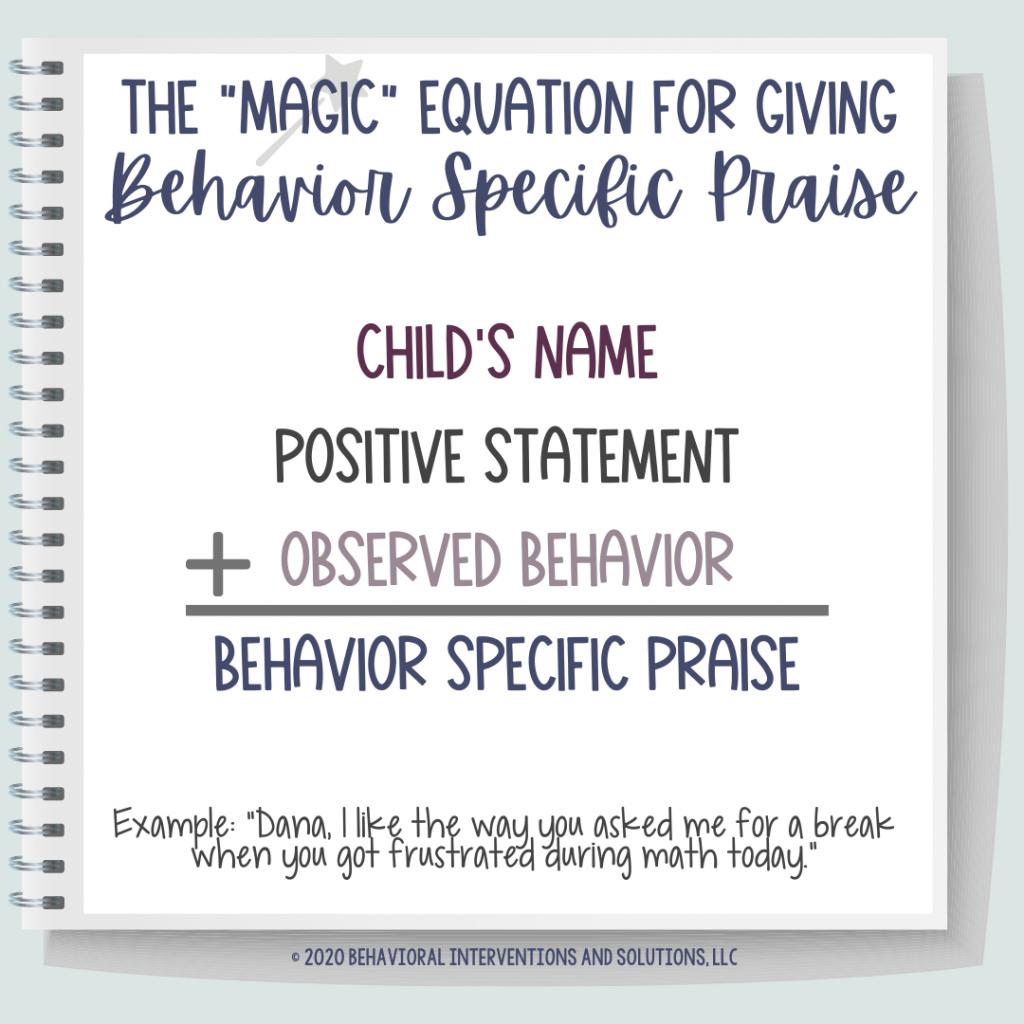 behavior specific praise graphic